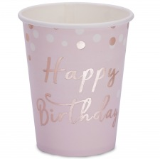 Gobelets en carton Happy Birthday Rose Gold (x4)