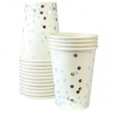Gobelets en carton Pois Bleu & Argent (x6)