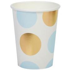 Gobelets en carton à pois bleu et or (x4)
