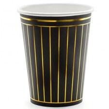 Gobelets en carton Rayure Noir & Or (x6)