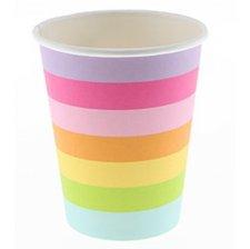 Gobelets en carton Rayures Multicolores (x6)