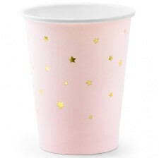 Gobelets en carton Rose Pastel  Etoile Or (x6)