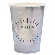 Gobelets Joyeux Anniversaire Étincelant Argent & Noir(x10)