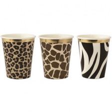 Gobelets Safari Leopard, Girafe, Zèbre Or (x9)