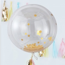 Grand Ballon Bulle Plastique Transparent Confettis Or
