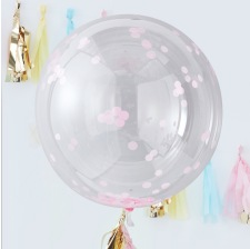 Grand Ballon Bulle Plastique Transparent Confettis Rose