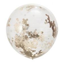 Grand Ballon Latex Transparent Confettis Rose Gold