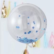 Grand Ballon Plastique Transparent Confettis Bleu