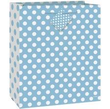 Grand sac cadeau Bébé - Bleu à pois