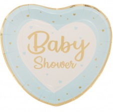 Grandes Assiettes Coeur Baby Shower Bleu & Or (x4)