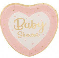 Grandes Assiettes Coeur Baby Shower Rose & Or (x8)