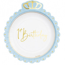 Grandes Assiettes en carton 1st Birthday Bleu & Or (x4)