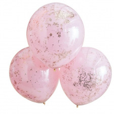 Grands Ballons Confettis Rose Gold & Rose (x3)