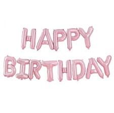 Guirlande Ballon Aluminium Happy Birthday Rose Pastel