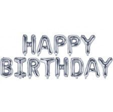 Guirlande Ballon Aluminium Mylar Happy Birthday Argent