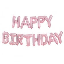 Guirlande Ballon Happy Birthday Rose Pastel