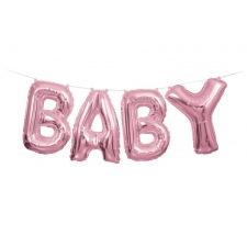 Guirlande Ballon Mylar Rose Métallisé BABY