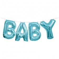 Guirlande Ballons Mylar Aluminium Bleu Métallisé BABY