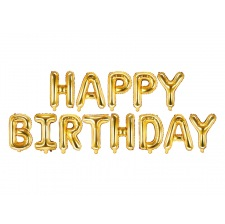 Guirlande Ballons Or métallisé Happy Birthday