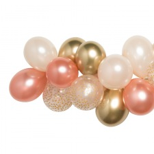 Guirlande de 20 ballons Rose Gold, Or & Pêche