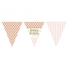 Guirlande Drapeaux Happy Birthday Rose & Or