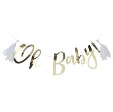 Guirlande Oh Baby Or & Blanc