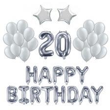Kit Anniversaire Ballons 20 ans Argent (x21)