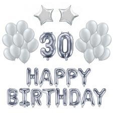 Kit Anniversaire Ballons 30 ans Argent (x21)