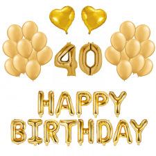 Kit Anniversaire Ballons 40 ans Or (x21)