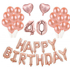 Kit Anniversaire Ballons 40 ans Rose Gold (x21)
