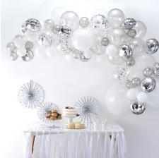 Kit Arche de 60 ballons Argent & Blanc