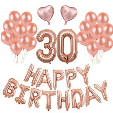 Kit Ballons Anniversaire 30 ans Rose Gold (x21)