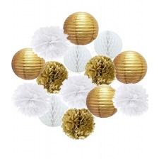 Kit Décoration 14 pièces Blanc & Or