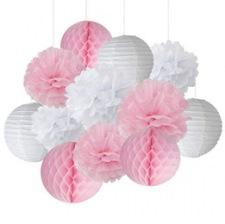 Kit Décoration 14 pièces Rose Pastel & Blanc