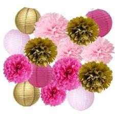 Kit Décoration 15 Pièces Rose Fuschia & Or