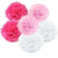 Kit Décoration 6 Pompons Fleur Rose, Fuschia et Blanc