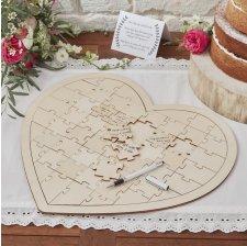 Livre d'or coeur puzzle en bois Bohème