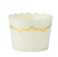 Moules à cupcake Blanc et lisière Doré 85ml (x20)