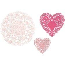 Napperons en papier Rose Dentelle Coeur (x30)
