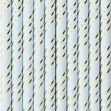 Pailles Biodégradable Papier Bleu & Or (x10)