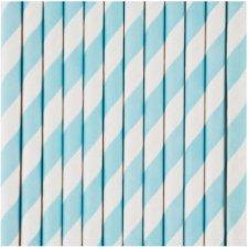 Pailles Biodégradable Papier à Rayure Bleu Pastel (x10)