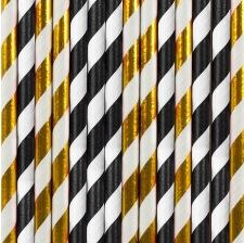 Pailles Biodégradable Papier Rayure Noir & Doré (x20)
