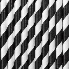 Pailles Biodégradable Papier Rayure Noir (x20)