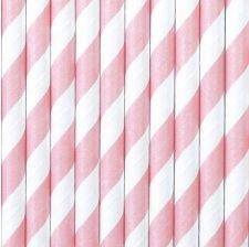 Pailles Biodégradable Papier Rayure Rose Clair (x10)