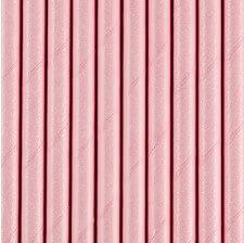 Pailles Biodégradable Papier Rose Pastel (x10)