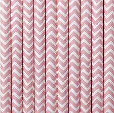 Pailles Biodégradables Papier Chevron Rose Clair (x20)