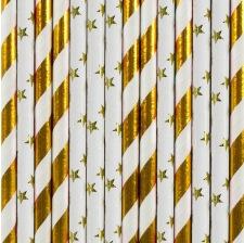 Pailles Biodégradables Papier Rayure et Etoile doré (x20)