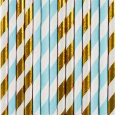 Pailles de fête en papier Bleu & Or (x20)