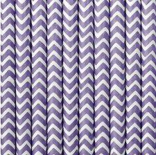 Pailles de Fête en papier Chevron Lilas (x20)