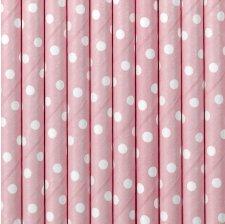 Pailles de fête en papier à pois Rose Pastel (x20)